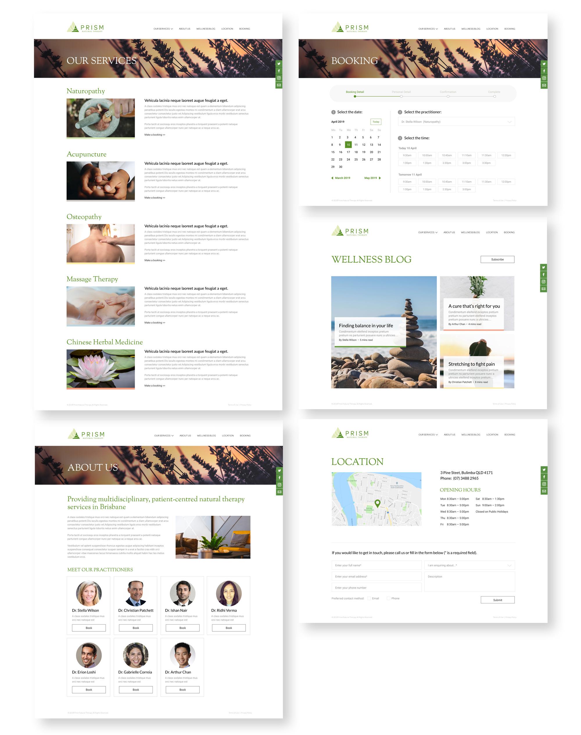 Prism Website Design Internal Pages